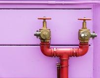 Διπλό επικεφαλής στόμιο υδροληψίας πυρκαγιάς στοκ εικόνες