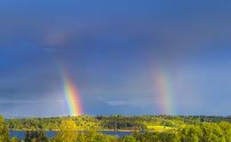 Διπλό ουράνιο τόξο, Βαυαρία, Γερμανία Στοκ φωτογραφία με δικαίωμα ελεύθερης χρήσης