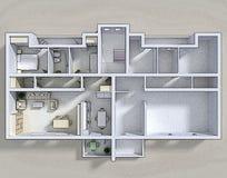 Διπλό τρισδιάστατο διαμέρισμα Στοκ Φωτογραφίες