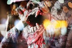 Διπλό υπόβαθρο αποκριών έκθεσης τρομακτικό Στοκ φωτογραφία με δικαίωμα ελεύθερης χρήσης