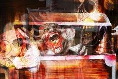 Διπλό υπόβαθρο αποκριών έκθεσης τρομακτικό Στοκ Εικόνες
