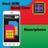 Διπλό smartphone SIM με τον επεξεργαστή τετράγωνο-πυρήνων διανυσματική απεικόνιση
