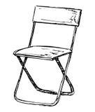 Διπλώνοντας την καρέκλα που απομονώνεται στο άσπρο υπόβαθρο Διανυσματική απεικόνιση σε ένα ύφος σκίτσων Στοκ εικόνες με δικαίωμα ελεύθερης χρήσης