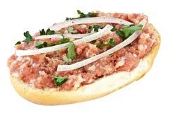 διχοτομημένος κομματιασμένος ρόλος χοιρινού κρέατος στοκ εικόνα