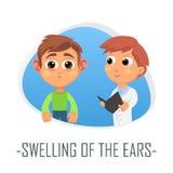 Διόγκωση της ιατρικής έννοιας αυτιών επίσης corel σύρετε το διάνυσμα απεικόνισης διανυσματική απεικόνιση