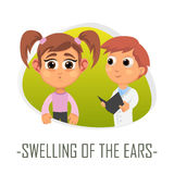 Διόγκωση της ιατρικής έννοιας αυτιών επίσης corel σύρετε το διάνυσμα απεικόνισης απεικόνιση αποθεμάτων