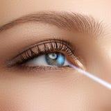 Διόρθωση οράματος λέιζερ γυναίκα ματιών s 20d ανθρώπινη μακρο βλάστηση ματιών φωτογραφικών μηχανών eos Μάτι γυναικών με στοκ εικόνα με δικαίωμα ελεύθερης χρήσης