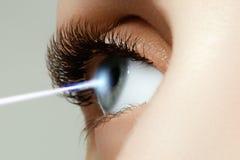 Διόρθωση οράματος λέιζερ Μάτι γυναικών ` s 20d ανθρώπινη μακρο βλάστηση ματιών φωτογραφικών μηχανών eos Μάτι γυναικών με στοκ εικόνες