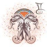 Διδυμοι σύμβολα δώδεκα σημαδιών σχεδίου έργων τέχνης διάφορο zodiac Στοκ Φωτογραφία