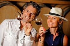 Δοκιμάζοντας κρασί ζεύγους σε ένα κελάρι Στοκ φωτογραφίες με δικαίωμα ελεύθερης χρήσης