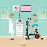 Δοκιμή ECG ή δοκιμή άσκησης για τις καρδιακές παθήσεις στα ποδήλατα άσκησης Στοκ Φωτογραφίες