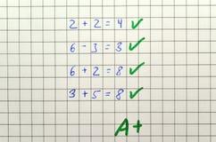 Δοκιμή Math Στοκ φωτογραφία με δικαίωμα ελεύθερης χρήσης