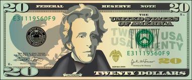 δολάρια είκοσι διανυσματική απεικόνιση