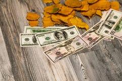 Δολάρια με Benjamin στο παλαιό ξύλινο ύφος ως υπόβαθρο Στοκ φωτογραφία με δικαίωμα ελεύθερης χρήσης