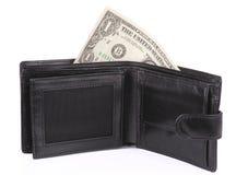 δολάριο ένα ανοικτό πορτοφόλι Στοκ εικόνα με δικαίωμα ελεύθερης χρήσης