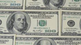 δολάριο εκατό λογαριασμών Μακρο φωτογραφία των τραπεζογραμματίων Ο ολισθαίνων ρυθμιστής καμερών κινήσεων πορτρέτο franklin Benjam απόθεμα βίντεο