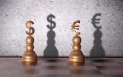 Δολάριο εναντίον της ευρο- έννοιας Στοκ Φωτογραφίες