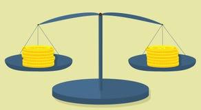 Δολάριο και ευρώ νομισμάτων στις κλίμακες του μεταλλικού χρώματος απεικόνιση αποθεμάτων