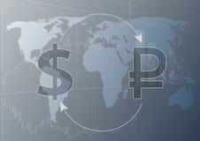 Δολάριο και ρούβλι ανταλλαγής νομίσματος απεικόνιση αποθεμάτων