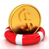 Δολάριο νομισμάτων στη σανίδα σωτηρίας ελεύθερη απεικόνιση δικαιώματος