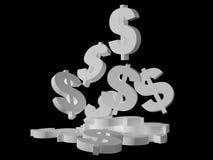 δολάριο που πέφτει άσπρο Στοκ Φωτογραφία