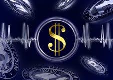 Δολάριο σφυγμού Cryptocurrency Διανυσματική απεικόνιση