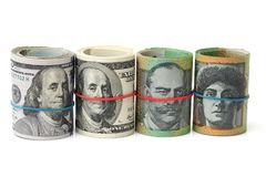 Δολάριο της Αυστραλίας, τραπεζογραμμάτιο της Αυστραλίας και Δολ ΗΠΑ Στοκ φωτογραφία με δικαίωμα ελεύθερης χρήσης