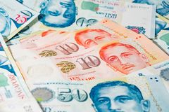 Δολάριο της Σιγκαπούρης, τραπεζογραμμάτιο Σιγκαπούρη στο άσπρο υπόβαθρο Στοκ Φωτογραφίες