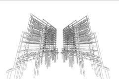 Δομή πολυκατοικίας σχεδίων αρχιτεκτονικής Στοκ Εικόνες