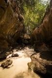 Δομή σπηλιών ασβεστόλιθων καρστ της τροπικής παραλίας στο νησί με Στοκ Φωτογραφίες