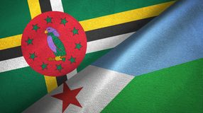 Δομίνικα και Τζιμπουτί δύο υφαντικό ύφασμα σημαιών, σύσταση υφάσματος στοκ εικόνα