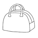 Δομημένη τσάντα, τσάντα αποσκευών με τις λαβές Απεικόνιση σκίτσων τέχνης γραμμών Στοκ Φωτογραφίες