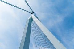 Δομική λεπτομέρεια εφαρμοσμένης μηχανικής παραμονής καλωδίων στη γέφυρα Erasmus Στοκ Εικόνες