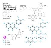Δομικοί χημικοί μοριακοί τύπος και πρότυπο της ερυθρίνης και Quercetin Τα άτομα αντιπροσωπεύονται ως σφαίρες με την κωδικοποίηση  απεικόνιση αποθεμάτων