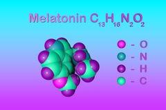 Δομικός χημικός τύπος και μοριακό πρότυπο του melatonin, μια ορμόνη που ρυθμίζει τον ύπνο και το wakefulness melatonin απεικόνιση αποθεμάτων