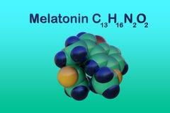 Δομικός χημικός τύπος και μοριακό πρότυπο του melatonin, μια ορμόνη που ρυθμίζει τον ύπνο και το wakefulness melatonin διανυσματική απεικόνιση