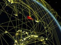 Δομινικανή Δημοκρατία από το διάστημα με το δίκτυο ελεύθερη απεικόνιση δικαιώματος