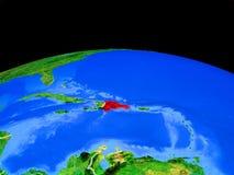 Δομινικανή Δημοκρατία από το διάστημα στη γη διανυσματική απεικόνιση
