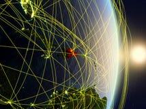 Δομινικανή Δημοκρατία στο δικτυωμένο πλανήτη Γη στοκ φωτογραφία με δικαίωμα ελεύθερης χρήσης