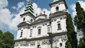 Δομινικανή εκκλησία, καθεδρικός ναός της αμόλυντης σύλληψης της ιερής μητέρας του Θεού σε Ternopil, Ουκρανία 19-07-2018 απόθεμα βίντεο