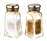 Δονητές αλατιού και πιπεριών Watercolor Στοκ εικόνα με δικαίωμα ελεύθερης χρήσης