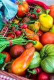 Δονούμενα λαχανικά στο καλάθι στοκ εικόνα