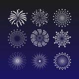 Δονούμενη διανυσματική απεικόνιση με τα πυροτεχνήματα σε ένα σκούρο μπλε υπόβαθρο Όμορφος χαιρετισμός διακοσμήσεων για τους εορτα διανυσματική απεικόνιση