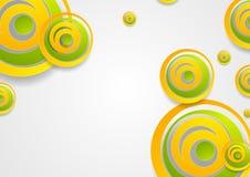 Δονούμενο πράσινο και πορτοκαλί δημιουργικό αφηρημένο υπόβαθρο κύκλων διανυσματική απεικόνιση