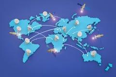Δορυφορικά πιάτα για την παγκόσμια επικοινωνία στοκ εικόνα