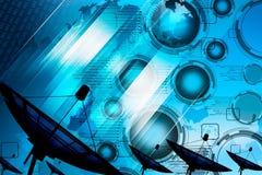 Δορυφορικά στοιχεία μετάδοσης πιάτων όσον αφορά το ψηφιακό μπλε υποβάθρου Στοκ Εικόνες