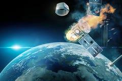 Δορυφορική σύγκρουση στοκ εικόνες
