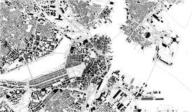 Δορυφορικός χάρτης της Βοστώνης, Μασαχουσέτη, οδοί πόλεων ΗΠΑ ελεύθερη απεικόνιση δικαιώματος