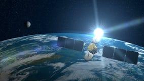Δορυφόρος πέρα από τη γη ελεύθερη απεικόνιση δικαιώματος