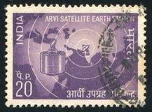 Δορυφόρος πέρα από το χάρτη του ανατολικού ημισφαιρίου στοκ εικόνες